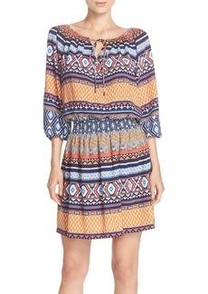 Betsey Johnson Print Crêpe de Chine Blouson Dress
