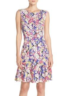 Betsey Johnson Print Laser Cut Scuba Fit & Flare Dress
