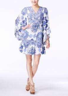 Betsey Johnson Printed Bell-Sleeve A-Line Dress