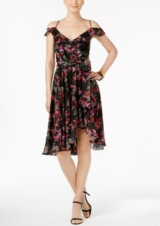 Betsey Johnson Printed Cold-Shoulder Wrap Dress