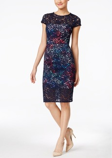 Betsey Johnson Printed Lace Sheath Dress