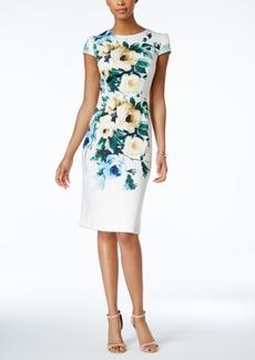Betsey Johnson Printed Scuba Midi Sheath Dress