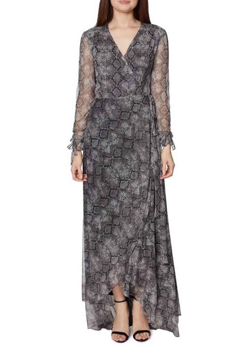 Betsey Johnson Python-Print Maxi Wrap Dress