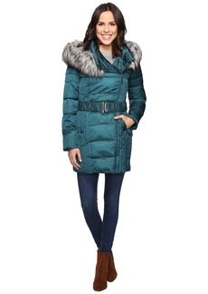 Betsey Johnson Quilted Asymmetrical Zip Puffer w/ Fur Hood