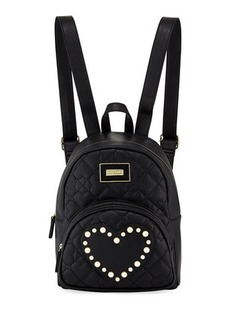 Betsey Johnson Quilted Pearly Heart Backpack