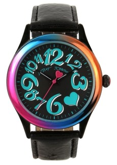 Betsey Johnson Rainbow Case & Black Strap Watch