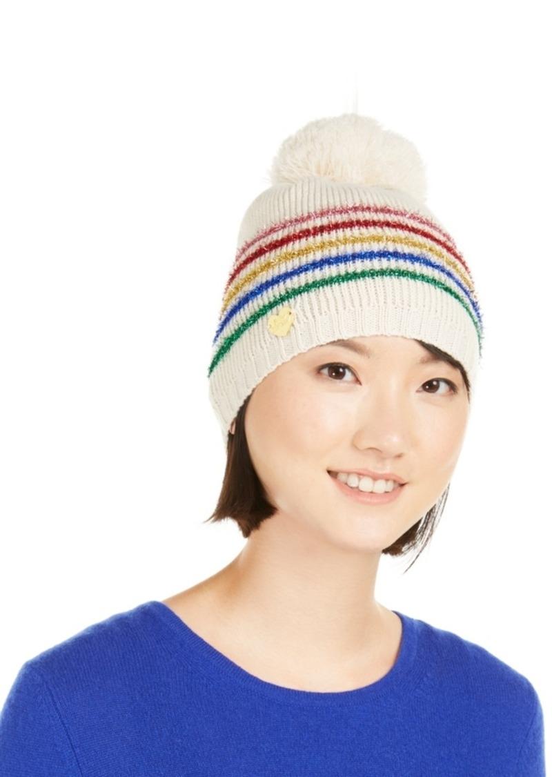 Betsey Johnson Rainbow-Stripe Beanie