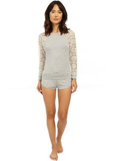 Betsey Johnson Rayon Knit & Lace Short Set