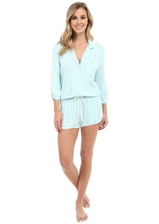 Betsey Johnson Rayon Knit Satin Emroidered Romper