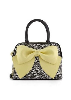 Betsey Johnson Ready Set Bow Dot-Print Satchel Bag
