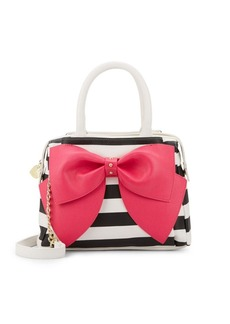 Betsey Johnson Ready Set Bow Striped Satchel