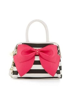 Betsey Johnson Ready Set Bow Striped Satchel Bag