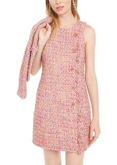 Betsey Johnson Rhinestone-Ruffle Tweed Dress