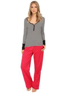 Betsey Johnson Rib and Flannel Pajama