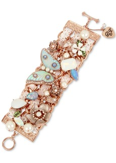 Betsey Johnson Rose Gold-Tone Crystal, Imitation Pearl & Lace Flex Bracelet
