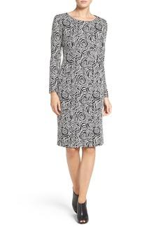 Betsey Johnson Rose Pattern Jacquard Sheath Dress