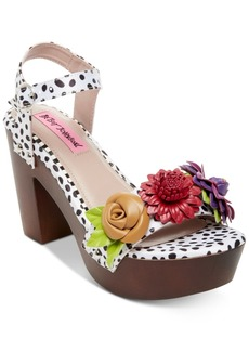 Betsey Johnson Rosee Flower Wood Clog Sandals Women's Shoes