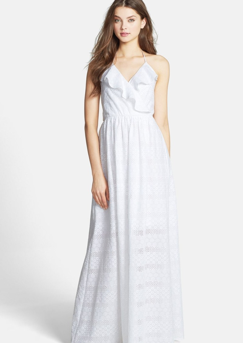 Betsey Johnson Ruffle Cotton Eyelet Halter Maxi Dress