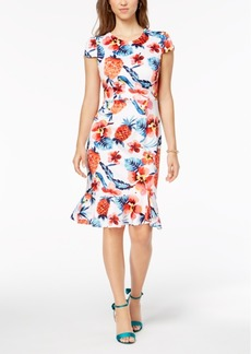 Betsey Johnson Floral Ruffled-Hem Bodycon Dress