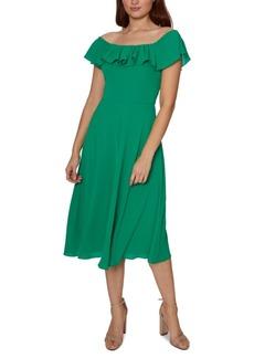 Betsey Johnson Ruffled Off-The-Shoulder Midi Dress