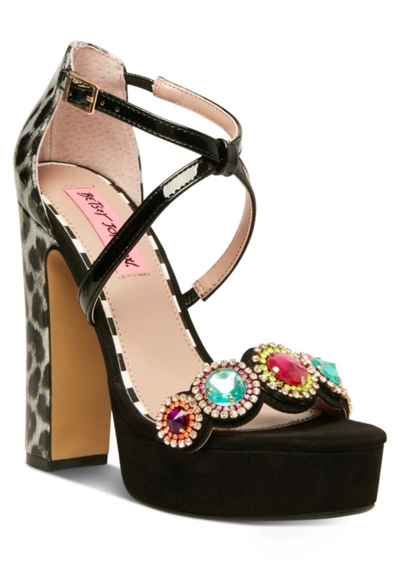 Betsey Johnson Sainte Embellished Platform Sandals Women's Shoes