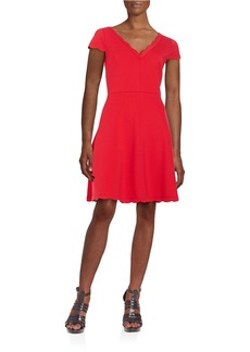 BETSEY JOHNSON Scalloped Fit-and-Flare Dress