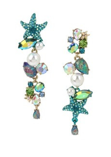 Betsey Johnson Sealife Faux Pearl and Crystal Mismatch Earrings