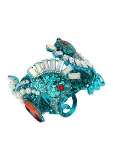 Betsey Johnson Sealife Faux Pearl and Crystal Seahorse Hinge Bracelet