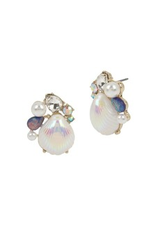 Betsey Johnson Sealife Faux Pearl and Crystal Stud Earrings