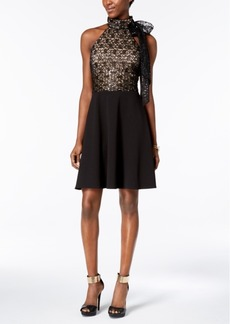 Betsey Johnson Sequined Lace & Scuba Crepe Bow Dress