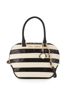 Betsey Johnson Sequined Stripe Dome Satchel Bag