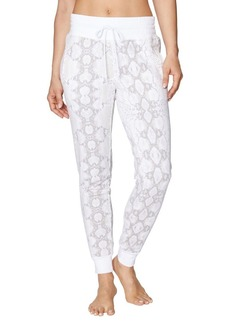 Betsey Johnson Shirred Waist Python-Print Sweatpant