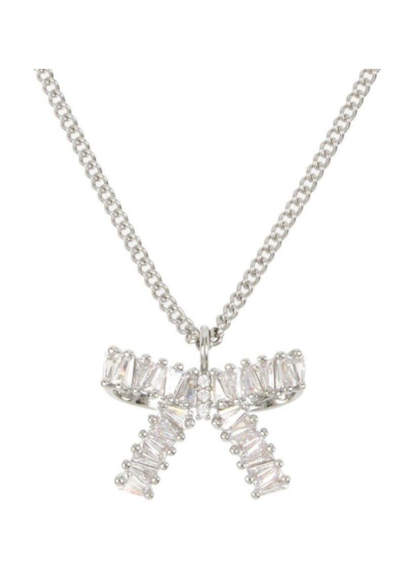 Betsey Johnson Silvertone & Crystal Bow Pendant Necklace
