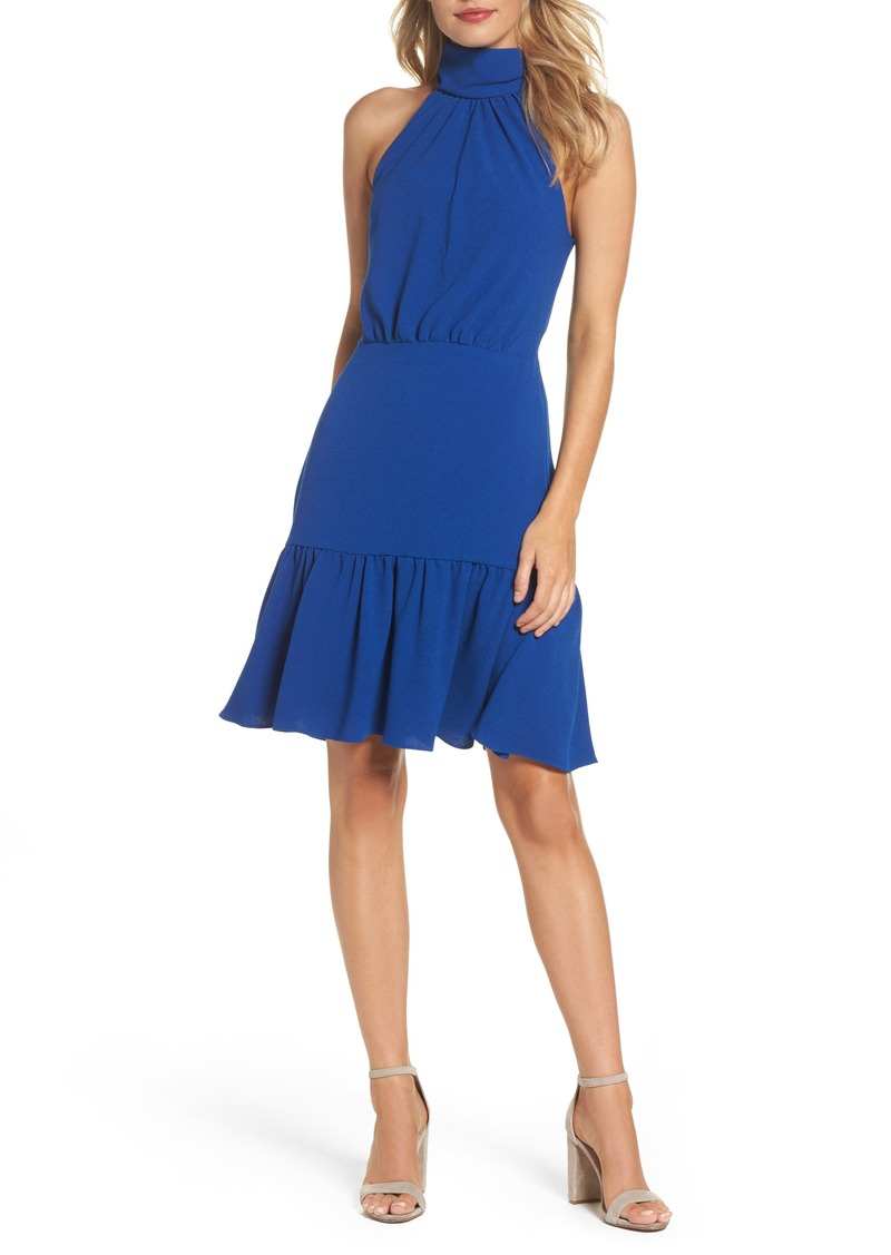 Betsey Johnson Stretch Crepe Blouson Halter Dress