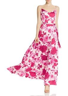 Betsey Johnson Stretch Satin Floral Print Maxi Dress