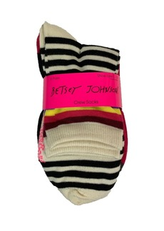 Betsey Johnson Stripe and Solid Crew Sock, 6 Pack