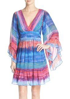 Betsey Johnson Stripe Flutter Sleeve A-Line Dress
