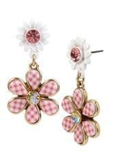 Betsey Johnson Summer Picnic Gingham Flower Drop Earrings