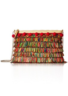 Betsey Johnson Tiki TIME  Colored Raffia Crossbody Clutch