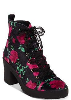 Betsey Johnson Tilde Floral Lace-Up Booties Women's Shoes