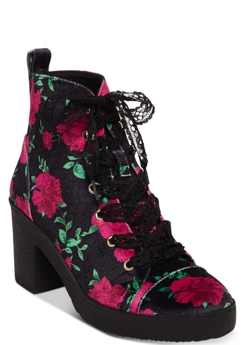 Betsey Johnson Betsey Johnson Tilde Floral Lace-Up Booties Women s ... 7d110e9d8