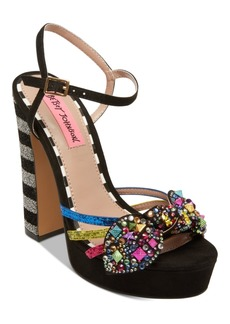 Betsey Johnson Tobie Embellished Platform Sandals Women's Shoes