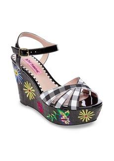 Betsey Johnson Traci Embroidered Platform Wedge Sandal