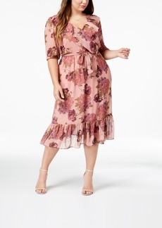 Betsey Johnson Trendy Plus Size Floral Chiffon Wrap Dress