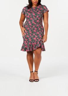 Betsey Johnson Trendy Plus Size Flounce-Hem Sheath Dress