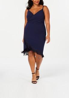Betsey Johnson Trendy Plus Size Fringe-Trim Sheath Dress