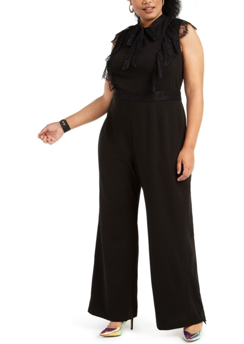 Betsey Johnson Trendy Plus Size Lace-Trim Jumpsuit