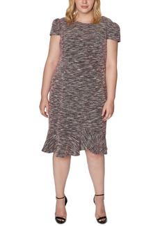 Betsey Johnson Trendy Plus Size Tweed Flounce Sheath Dress