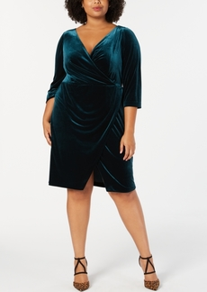 Betsey Johnson Trendy Plus Size Velvet Wrap Dress