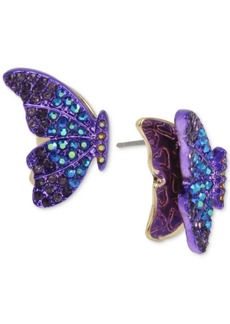 Betsey Johnson Two-Tone Pave Butterfly Stud Earrings